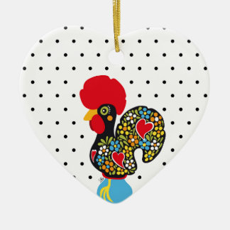 Famous Rooster of Barcelos Nr 06 - Polka Dots Ceramic Heart Ornament
