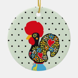 Famous Rooster of Barcelos Nr 06 - Polka Dots Round Ceramic Ornament
