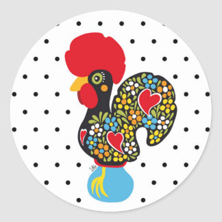 Famous Rooster of Barcelos Nr 06 - Polka Dots Round Sticker