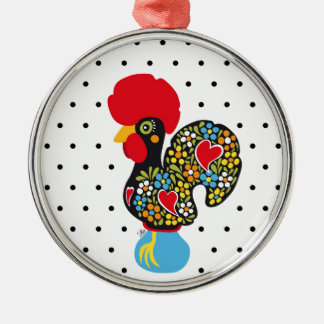 Famous Rooster of Barcelos Nr 06 - Polka Dots Silver-Colored Round Ornament