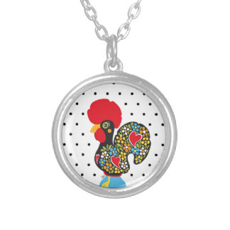 Famous Rooster of Barcelos Nr 06 - Polka Dots Silver Plated Necklace