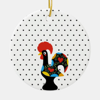 Famous Rooster of Barcelos Nr 09 - Polka Dots Round Ceramic Ornament