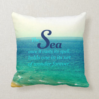 FAMOUS SEA QUOTE JACQUES COUSTEAU PILLOW