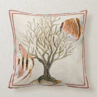 Fan Coral Ocean Beach Angel Tropical Fish Brown Throw Pillow
