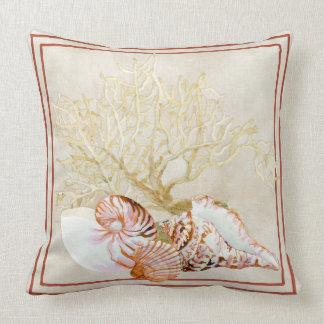 Fan Coral Ocean Beach Nautilus Conch Sea Shell Throw Pillow
