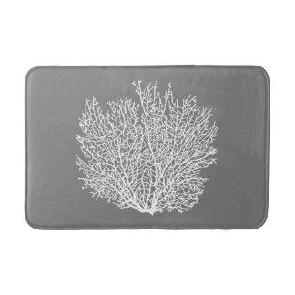 Fan Coral Print, Pale Silver on Medium Gray / Grey Bath Mat
