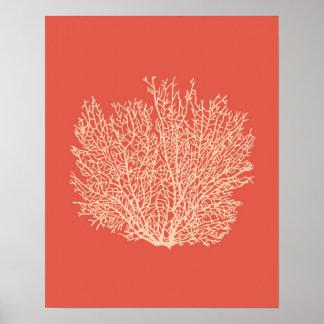 Fan Coral Print, Peach on Deep Coral  Orange Poster