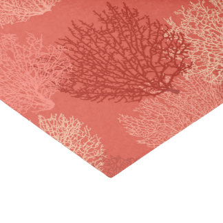 Fan Coral Print, Shades of Coral Orange Tissue Paper
