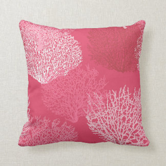 Fan Coral Print, Shades of Coral Pink Throw Pillow