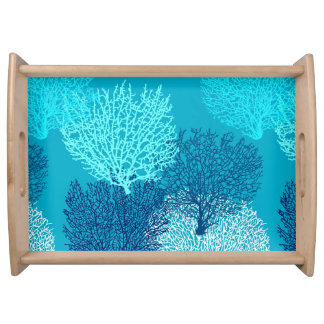 Fan Coral Print, Turquoise, Aqua and Cobalt Blue Serving Tray