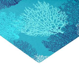 Fan Coral Print, Turquoise, Aqua and Cobalt Blue Tissue Paper