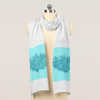 Fan Coral Print, Turquoise on an aqua background Scarf