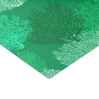 Fan Coral Print, Turquoise, Shades of Jade Green Tissue Paper