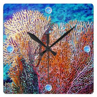 Fan Coral Square Wall Clock