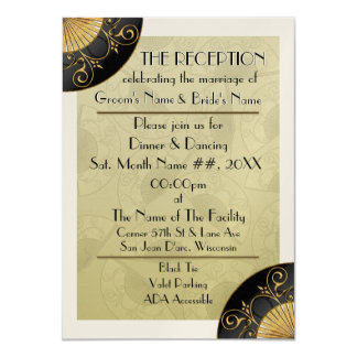 Fan Elegant (Moss) - Personalized Reception Invite