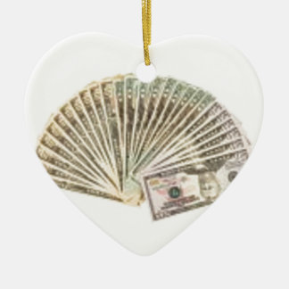 Fan of dollars ceramic heart ornament