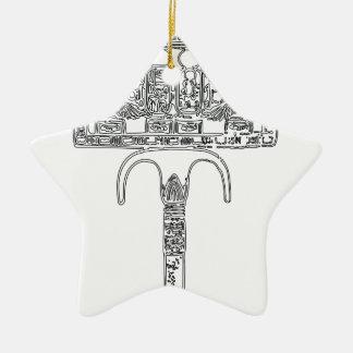 Fan of Tutenkhamun Outline Ceramic Ornament