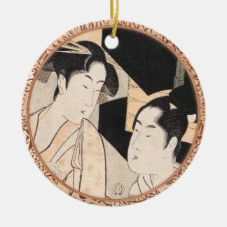 Fan Vendor Kitagawa Utamaro  japanese ladies Round Ceramic Ornament