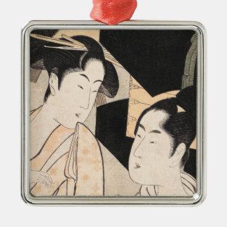 Fan Vendor Kitagawa Utamaro  japanese ladies Silver-Colored Square Ornament