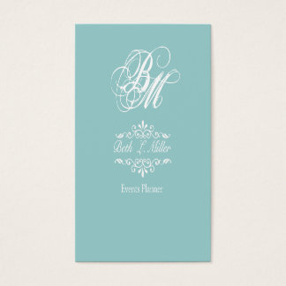 Fancier Curls Monogram Cool Event Planner Business Card
