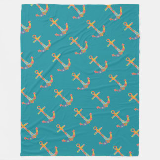 Fanciful Anchor Blue Green Blanket