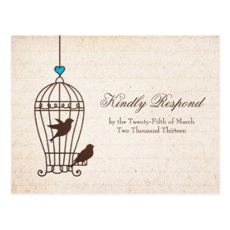 Fanciful Bird Cage - Chocolate & Teal Wedding RSVP Postcard