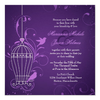 Fanciful Bird Cage with Swirls Aubergine Wedding Card