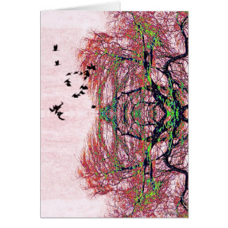 Fanciful birds and tree card