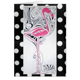 """Fanciful Flamingo"" Greeting Card"