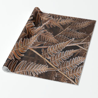 Fanciful Frostbitten Brown Ferns Wrapping Paper