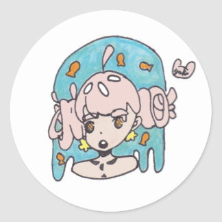 Fanciful goldfish girl classic round sticker