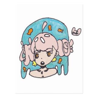 Fanciful goldfish girl postcard