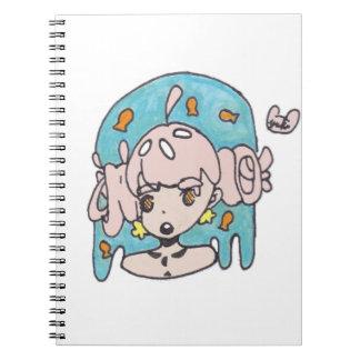 Fanciful goldfish girl spiral notebook