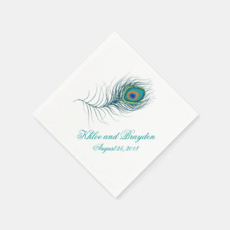 Fanciful Peacock Feather | Wedding Paper Napkins