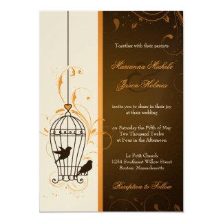 Fanciful Swirls Birdcage Orange & Brown Wedding Card