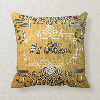 Fancy #1 Mom Golden Mother's day Throw Pillow