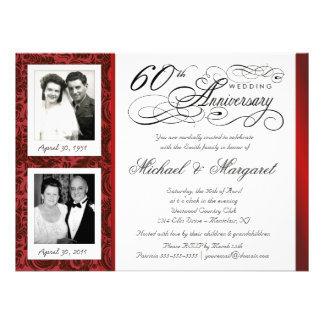 Fancy 60th Anniversary Invitations - Then Now