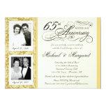 "Fancy 65th Anniversary Invitations - Then & Now 6.5"" X 8.75"" Invitation Card"