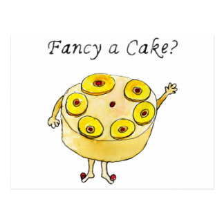 Fancy a Cake Funny Pineapple Cake Quote Quirky Art Postcard