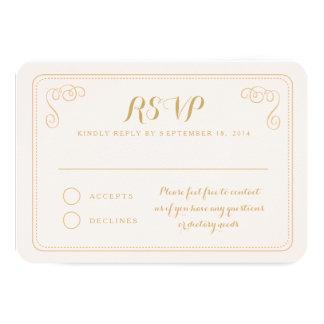"""Fancy Affair Wedding RSVP Card - Blush & Gold 3.5"""" X 5"""" Invitation Card"""