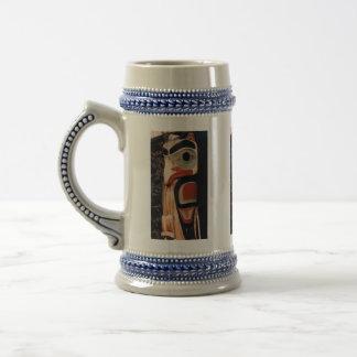 Fancy Alaskan Carved Totem Pole Color Designed Beer Stein