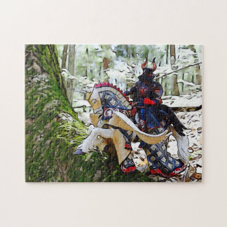 Fancy armored knight on Pegasus Jigsaw Puzzle