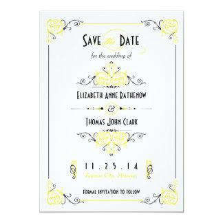 "Fancy Art Deco: Yellow & Black Save the Date 5"" X 7"" Invitation Card"