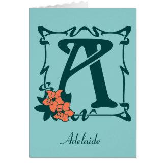 Fancy art nouveau letter A customizable template