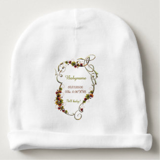 Fancy Autumn Leaves Text Frame Personalized Baby Beanie
