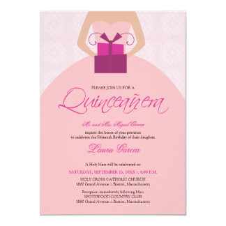 Fancy Ball Gown Quinceanera Invitation (pink)