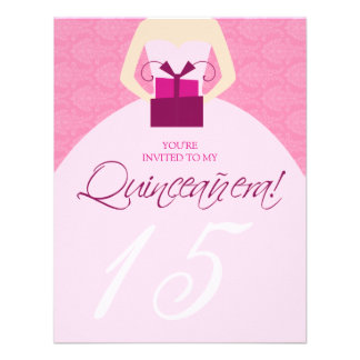 Fancy Ball Gown Quinceanera Invitation pink