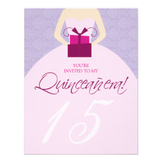 Fancy Ball Gown Quinceanera Invitation purple