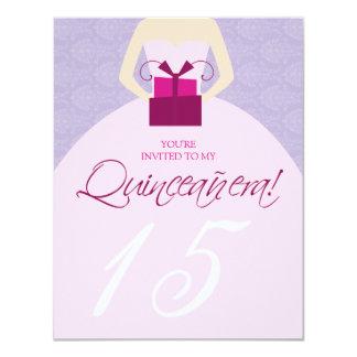 Fancy Ball Gown Quinceanera Invitation (purple)