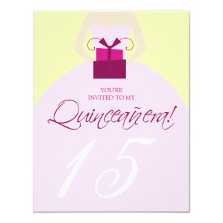 Fancy Ball Gown Quinceanera Invitation (yellow)